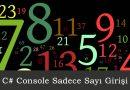 C# Console Uygulamasında Sadece Sayı Girişi