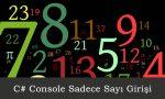 C# Console Sadece Sayi
