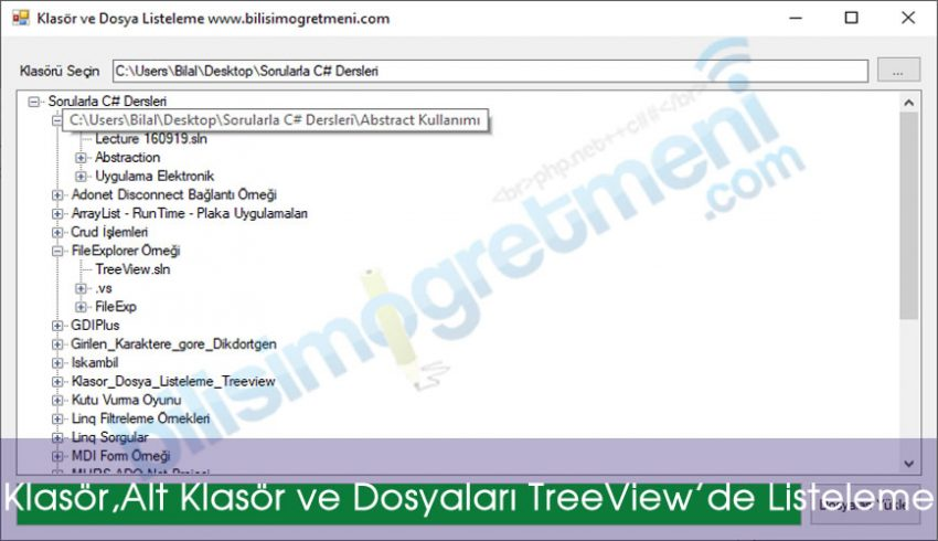 C# Örnekleri-Klasör,Alt Klasör ve Dosyaları TreeView'de Listeleme
